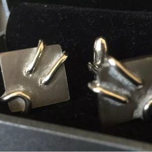 Other - Stainless Steel Silver Cufflinks Square EUC in 📦